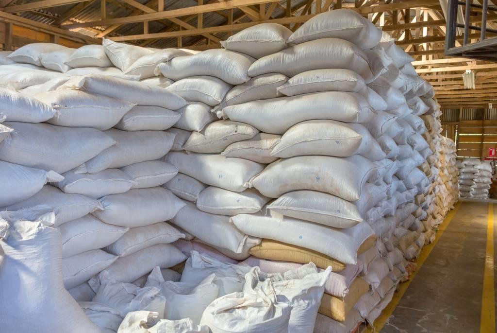 Sacs de blé stockés