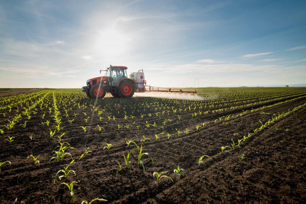 Un champ d'agriculture avec un tracteur